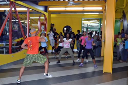 Zumba instructor showing them the moves!