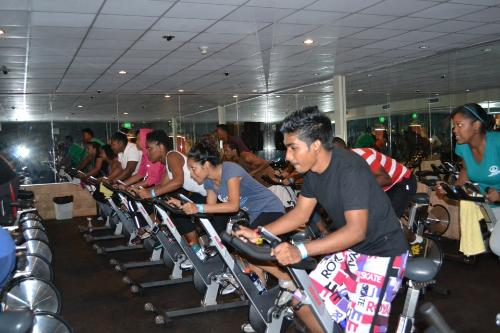 Burning those calories during Spin class