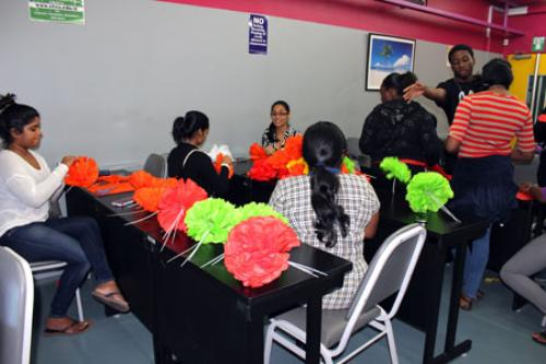 Staff and students prepare Divali decorations