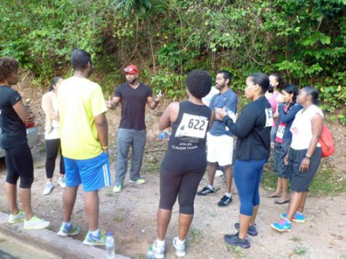 Participants receive a pep talk from Fitness trainer, Garth Voisin
