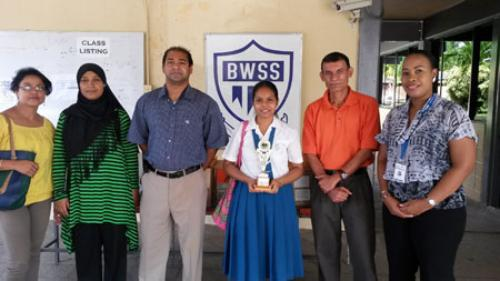 SBCS staff poses with staff and student awardee at Barrackpore West Secondary