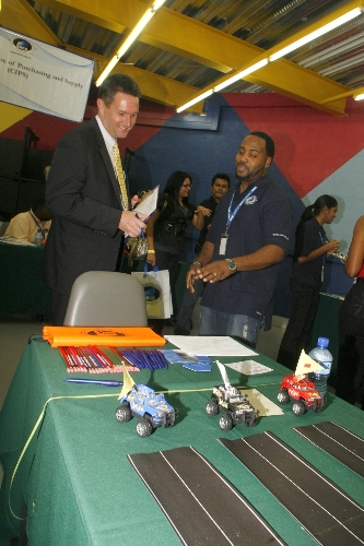 A representative from the US Embassy (left) participates in another fun game