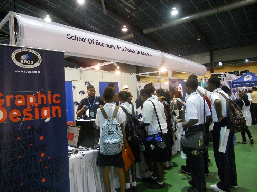 Students visit the SBCS booth