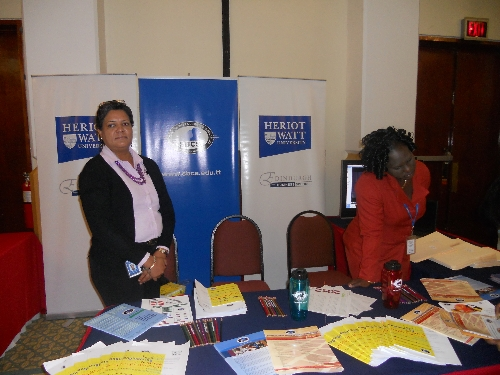 Staff members at the SBCS booth
