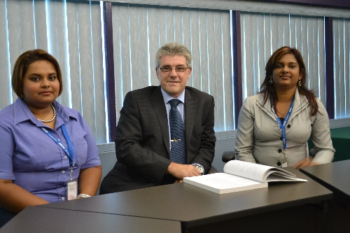 From left to right: Reshma Maharaj (SBCS), Mr. Greg Skarrat, Rinnette Ramdhanie (SBCS)