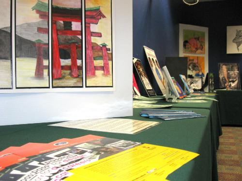 A range of student work displayed at the SBCS Graphic Design Exhibition at NALIS
