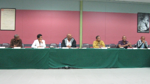 Lecturers engaged in talks: From right – Lecturers -  Mr. Allan Ramsaroop, Mr. Kevin O'Brien , Mr. Curtis Leach , Mr. Kamalain Manohar , Ms. Annmarie Dookie and ,Ms. Erica Ashton.