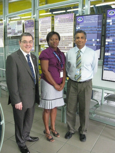 Professor Chapman of Heriot Watt University with Alicia Cameron, SBCS Trincity Branch Manager and Dr. Robin Maraj, SBCS Executive Director