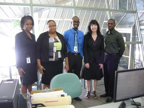 From left to right: Rhonda Aberdeen, Maria Thomas, Jonathan Felix (Administrative Team), Abigail Smith (Edexcel Standards Verifier) and Kevon Allen (Campus Manager)