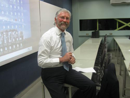 University of Sunderland representative- Mr. Chris Marshall - Associate Dean - (prepares himself for a Special Teaching session for our Strategic Management of Human Resources class which is taught by our local lecturer Mrs. Francisca Ambrose-Grant)
