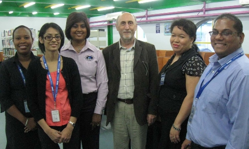 Director for Computing Collaborations, Peter Morris (centre), during a visit to the San Fernando Campus